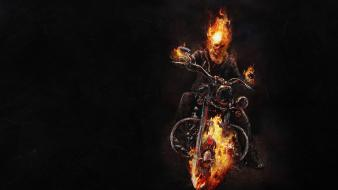Fire ghost rider skeletons motorbikes wallpaper