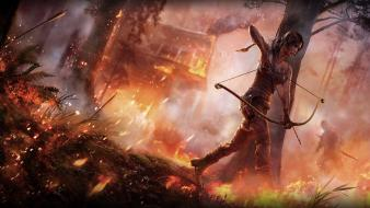 Fire tomb raider houses arrows survive burn wallpaper