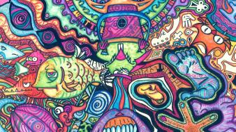 Fish psychedelic trippy artwork traditional art faces Wallpaper