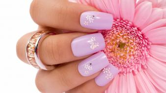 Flowers pink fingers nails wallpaper