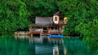 Green trees jungle summer jamaica islands hut house Wallpaper