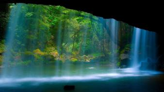 Green water cave wood wall falls wallpaper