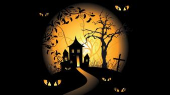 Halloween spooky digital art bats black background vector wallpaper