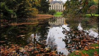 Houses france ponds europe james lapett autumn wallpaper