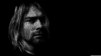 Men kurt cobain musicians typographic portrait juan osborne wallpaper