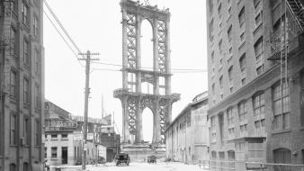 Monochrome cities manhattan bridge old photography 1908 wallpaper