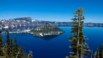 Mountains landscapes nature snow trees forests crater lake wallpaper