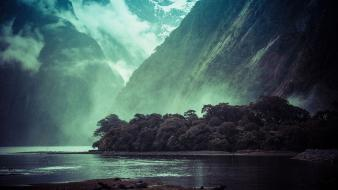 Mountains landscapes new zealand fjord milford sound wallpaper