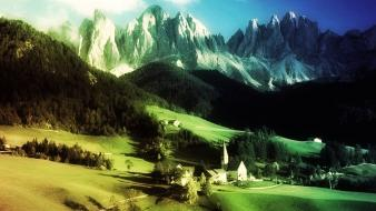 Mountains landscapes rainbows church low resolution wallpaper