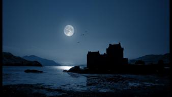 Nature castles night lakes moon light Wallpaper