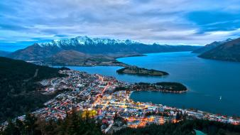 Nature cityscapes oceans bay queenstown snowy peaks wallpaper