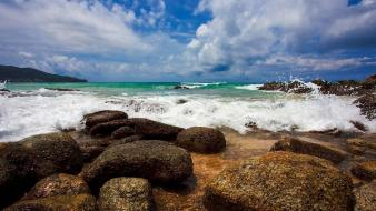 Nature waves stones foam splashes sky sea wallpaper