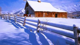 Nature winter snow farm wallpaper