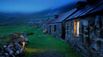 Night houses fog europe united kingdom scotland Wallpaper