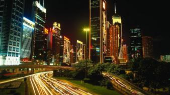 Night people buildings hong kong skyscrapers Wallpaper