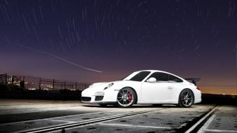 Night white porsche wallpaper
