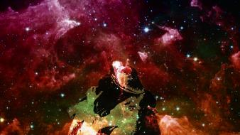 Outer space galaxies kissing artwork Wallpaper