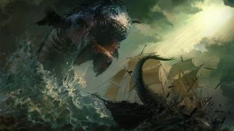 Paintings dark monsters ships fantasy art artwork wallpaper