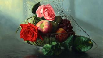 Paintings fruits baskets roses still life wallpaper