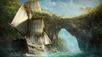 Paintings ships bridges rivers arch Wallpaper