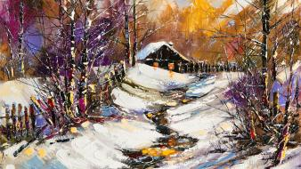 Paintings winter snow oil painting cottage wallpaper