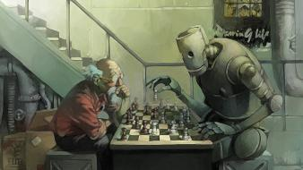 Robots chess thinking artwork game old man Wallpaper
