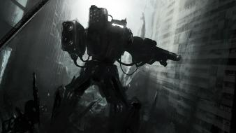 Robots mech urban multiscreen eyefinity wallpaper