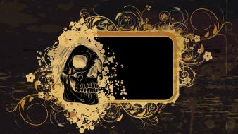 Skulls pattern grunge vector floral graphics background Wallpaper