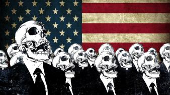 Skulls suit grunge artwork american flag alex cherry wallpaper