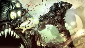 Soldiers video games futuristic gears of war Wallpaper