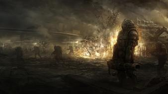 War dystopia smoke destruction science fiction artwork warriors Wallpaper