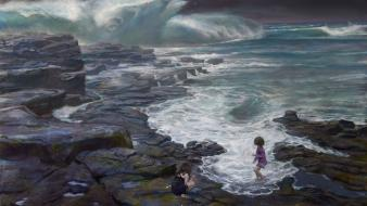 Waves rocks artwork children sea donato giancola wallpaper