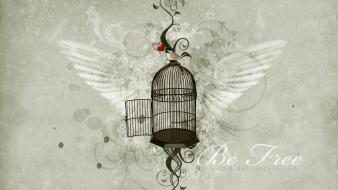 Wings freedom text cage artwork birds wallpaper