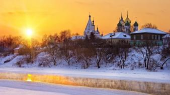 Winter snow church moscow sky wallpaper