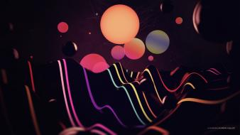 Abstract dark multicolor circles balls shapes geometry wallpaper