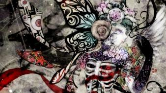 Abstract flowers bones butterfly wings wallpaper