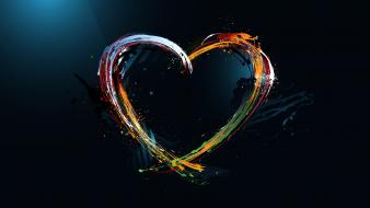 Abstract love paint rainbows hearts colors wallpaper