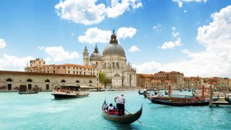 Architecture boats venice italy cathedral lakes blue skies wallpaper