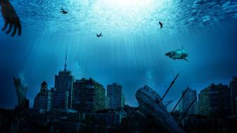 Art sharks sunlight shipwrecks abandoned underwater world wallpaper