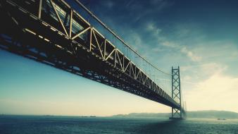 Bridges colors akashi kaikyo bridge below sky wallpaper