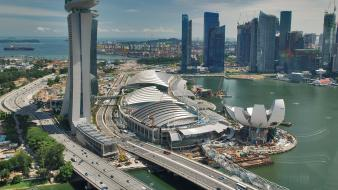 Buildings singapore traffic marina bay sands cities wallpaper
