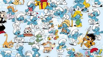 Cartoons drawings the smurfs wallpaper