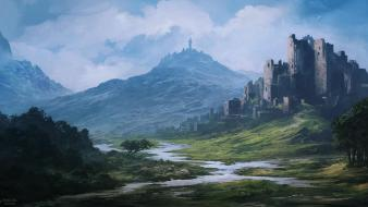 Castles ruins fantasy art digital artwork portuguese wallpaper