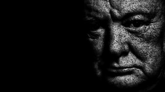 Churchill black background typographic portrait juan osborne wallpaper