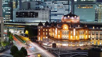 Cityscapes night urban buildings tokyo station wallpaper