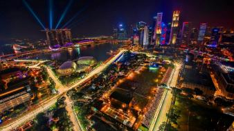 Cityscapes singapore city skyline night race Wallpaper