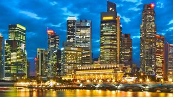 Cityscapes singapore panorama skyline Wallpaper