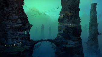 Digital art concept science fiction artwork villages wallpaper