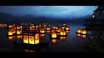 Floating deviantart lanterns lakes wallpaper