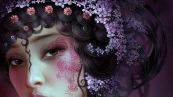 Flowers artwork faces yuehui tang hair ornaments wallpaper